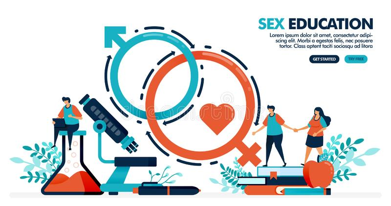 Vector illustration of people are studying sex education. sex romance for mental and physical health. human biology and anatomy vector illustration
