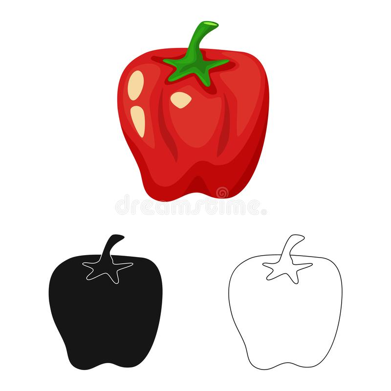 Vector illustration of pepper and red  icon. Set of pepper and vegetable vector icon for stock. Isolated object of pepper and red  symbol. Collection of pepper royalty free illustration