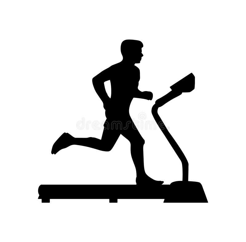 Vector illustration of person running on treadmill. Vector illustration black silhouette icon sign symbol of a man running on treadmill isolated on white vector illustration