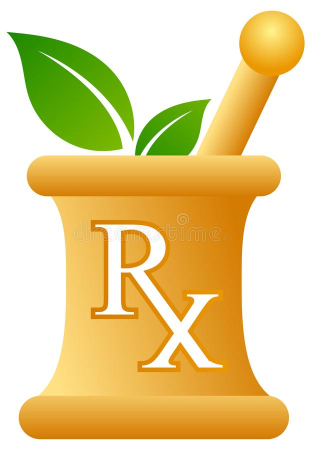 Pharmacy mortar and pestle with rx sign. Vector illustration of pharmacy mortar and pestle logo on white background stock illustration
