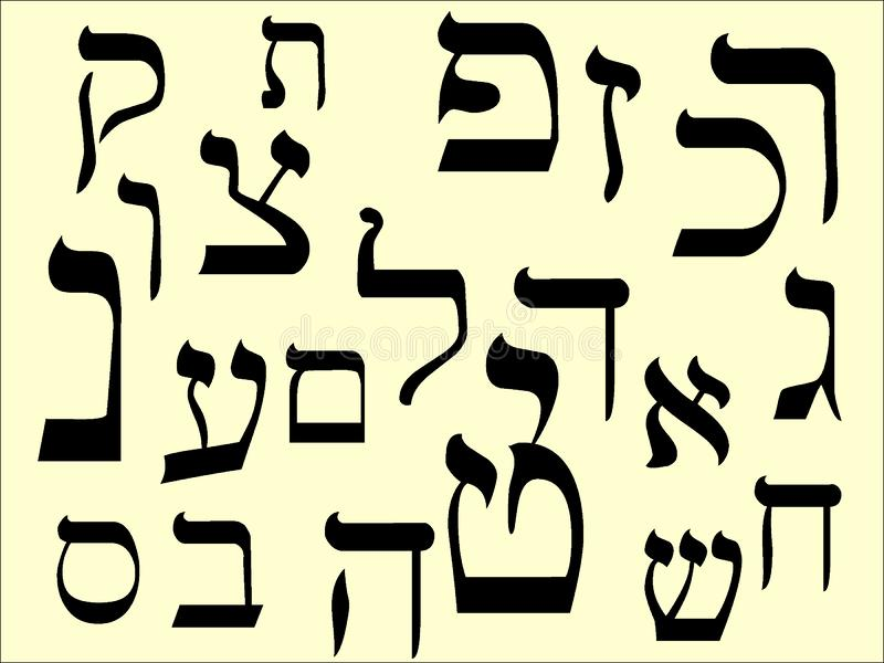 Picture set of the Letters of Hebrew royalty free illustration