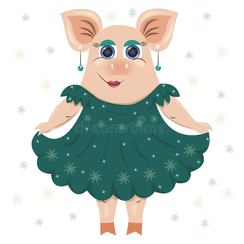 Vector illustration of a pig in an elegant, sparkling dress, in beads, earrings. For registration of cards, clothes, covers, gifts vector illustration