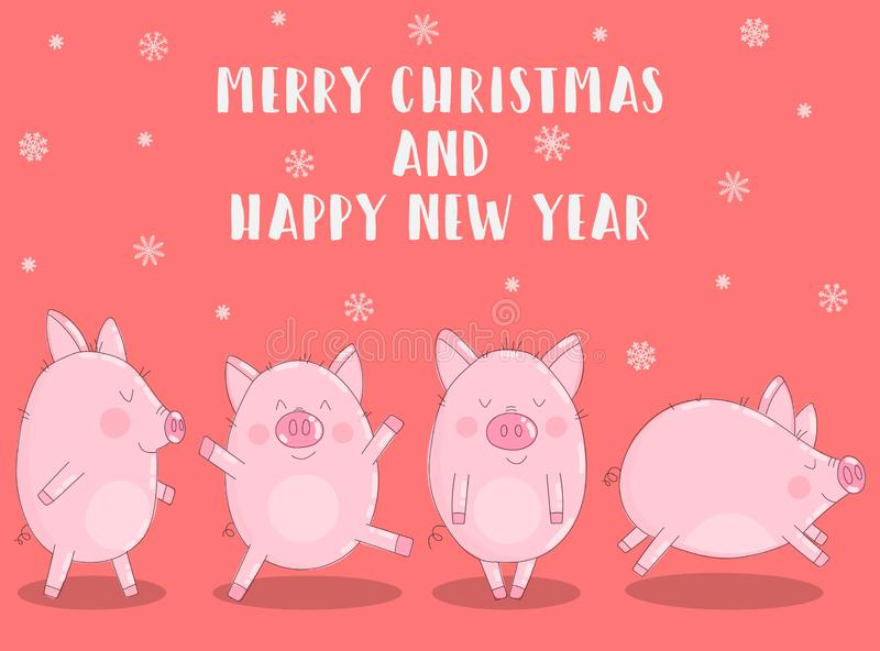 Vector illustration of pigs in winter clothes and snowflakes on a pink background. Image for New Year, Christmas, prints, invitati stock illustration