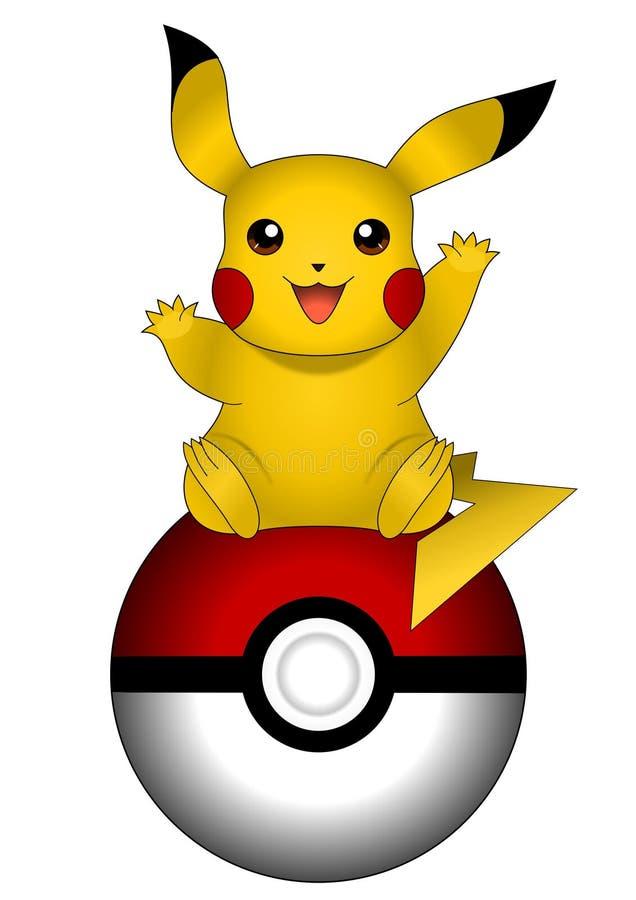 Vector illustration of Pikachu on pokeball isolated on white background, pokemon. Vector illustration of closeup of happy Pikachu on pokeball isolated on white
