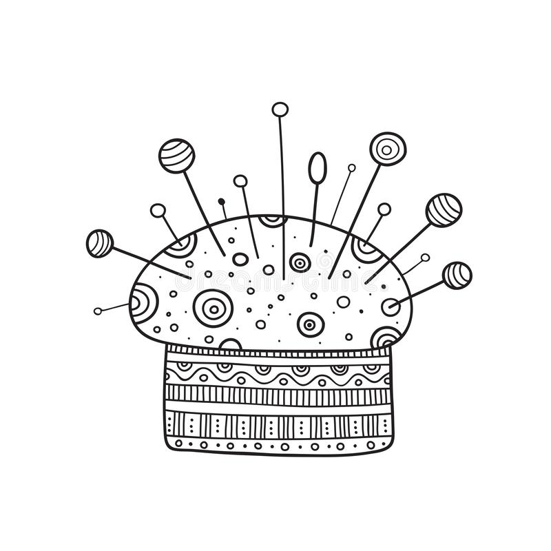 Vector illustration of pin cushion in boho style with ornament stock illustration