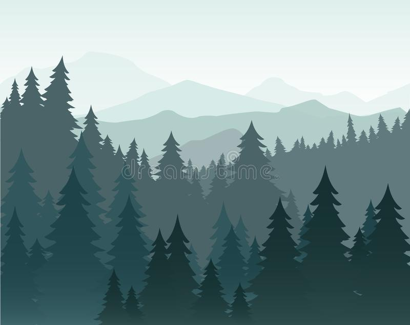 Vector illustration of pine forest and mountains vector background. Coniferous forest, fir silhouette and mountains in stock illustration
