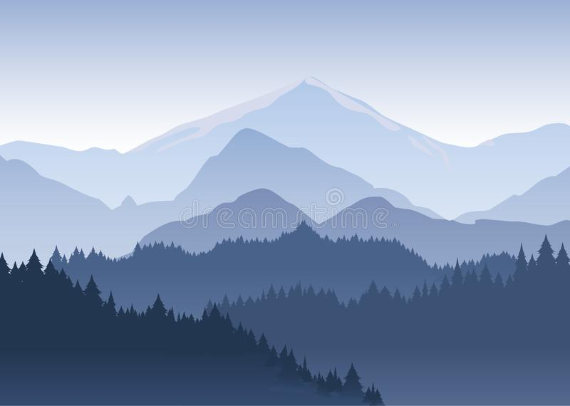 Vector illustration of the pine trees forest receding into the distance on the background of light blue mountains in vector illustration