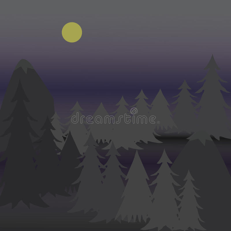 Vector illustration pine trees on rugged mountain at night stock images