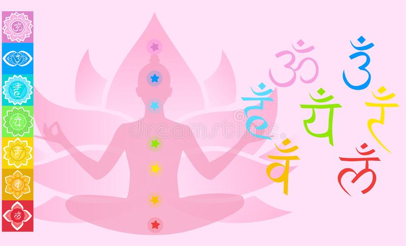 Set with chakras, the girl sitting in the lotus. Vector illustration on a pink background stock illustration