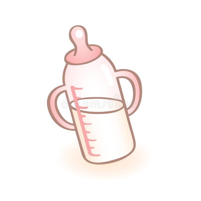 Vector image of a new born baby bottle with handles and pink pacifier. Infant vector icon. Child item. vector illustration