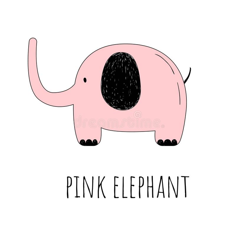 Vector illustration of a Pink elephant. The cartoon style. Drawing by hand royalty free illustration