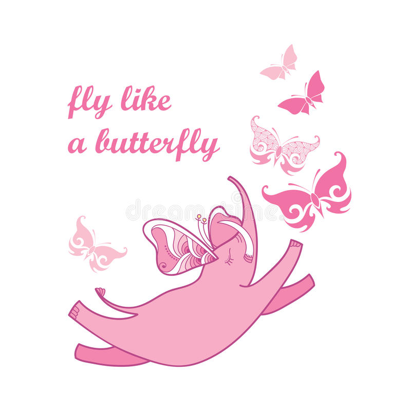 Vector illustration with pink flying elephant and ornate butterfly isolated on white background. Cartoon cute elephant in line art royalty free illustration