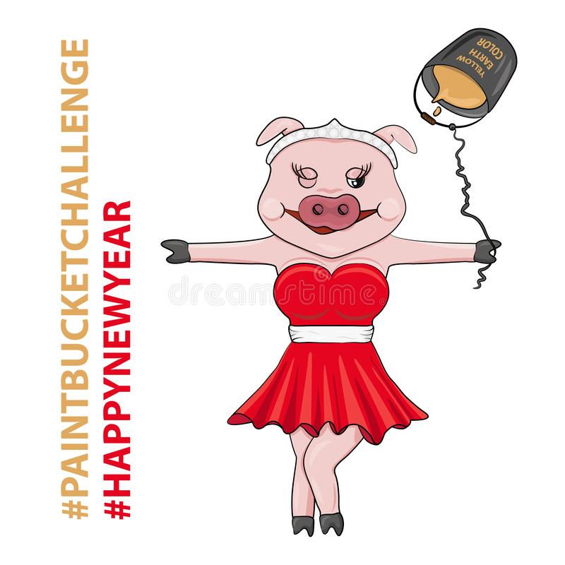 Vector Illustration of Pink Pig in Red Dress for New Year vector illustration