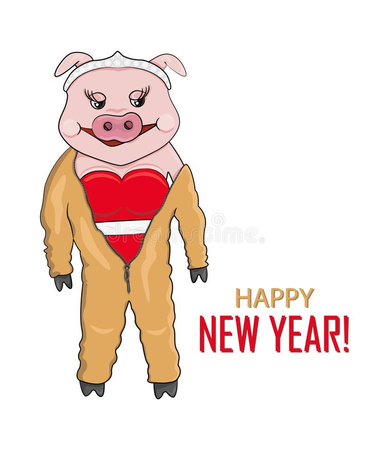 Vector Illustration of Pink Pig in Yellow-Earth Overalls for New Year. Vector Illustration of Pink Pig. New Year Character in Red Dress and in Yellow-Earth stock illustration