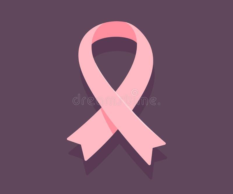 Vector illustration of pink ribbon, cancer awareness symbol on d. Ark background. Flat style design for breast cancer awareness month poster, banner, web, site stock illustration