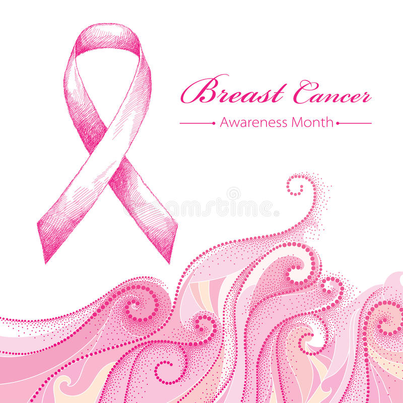 Vector illustration with pink ribbon and dotted pink swirls on white background. Breast Cancer Awareness Month symbol. Design for international health campaign stock illustration