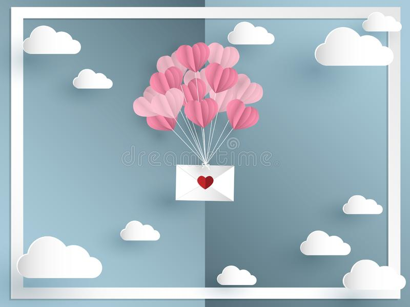 Vector illustration of pink tone balloons in a heart shape hang envelope floating and white frame. vector illustration