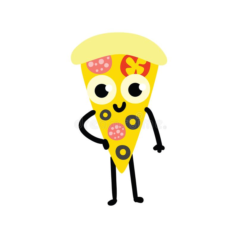 Vector illustration of pizza cartoon character in flat style. stock illustration