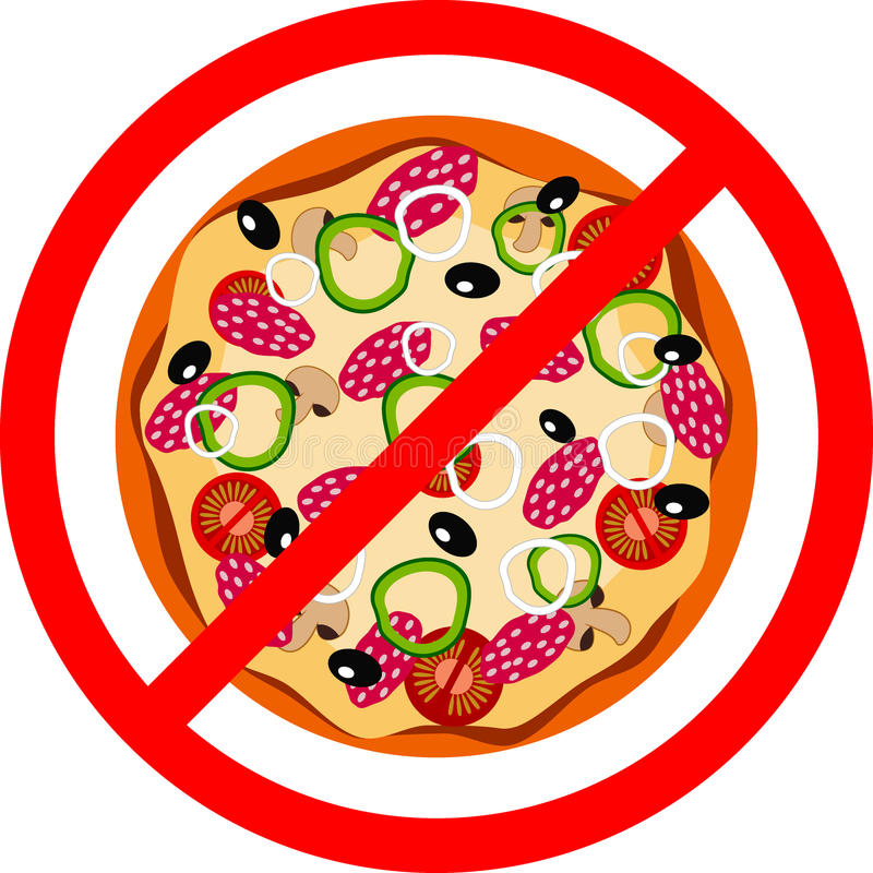 Vector illustration pizza, red prohibition sign stock illustration