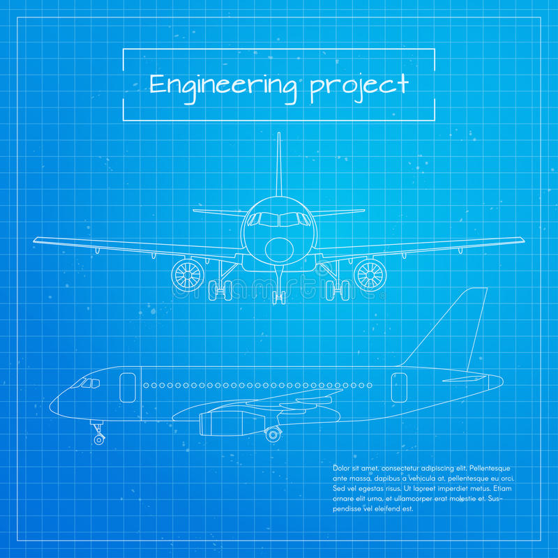 Vector illustration of plane engineering aircraft blueprint download vector illustration of plane engineering aircraft blueprint background stock vector illustration of design malvernweather Image collections