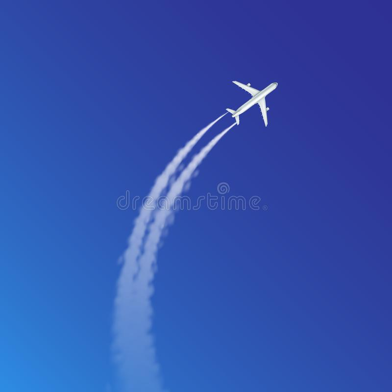 Vector illustration of plane loop and arc track or trails with white smoke on blue sky background vector illustration