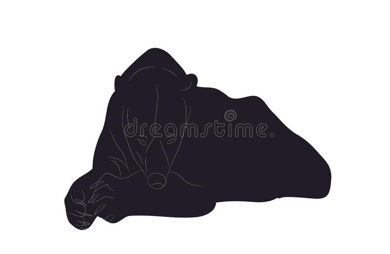 Vector illustration of a polar bear who lies, drawing silhouette, vector royalty free illustration