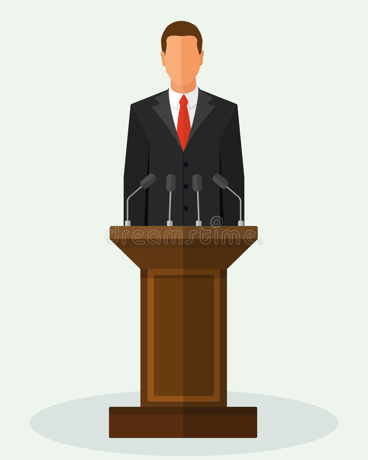 Vector Illustration Politician Man Giving Speech vector illustration