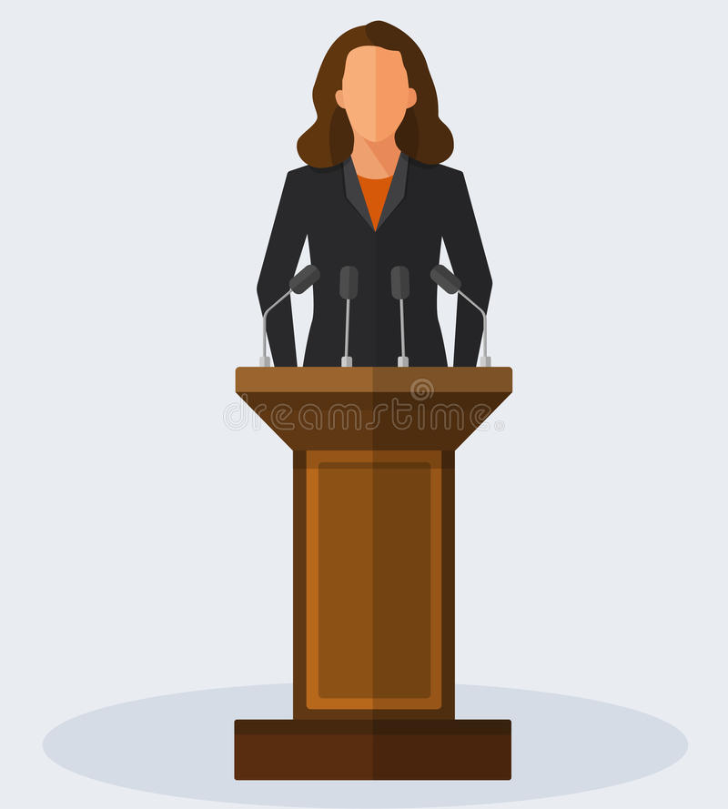 Vector Illustration Politician Woman Giving Speech royalty free illustration