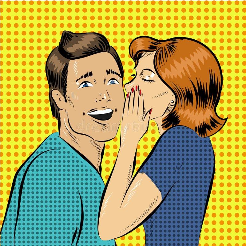 Vector illustration in pop art style woman whisper to a man. Vector illustration in pop art style. Woman telling secret to man. Retro comic. Gossip and rumors royalty free illustration