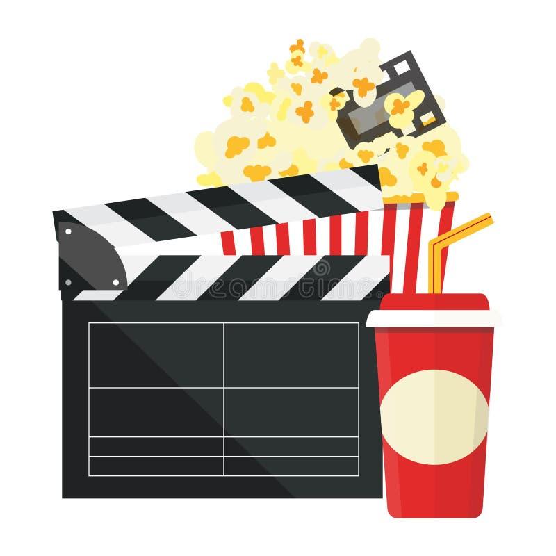 Vector illustration. Popcorn and drink. Film strip border. Cinema movie night icon in flat design style. Bright background. stock illustration