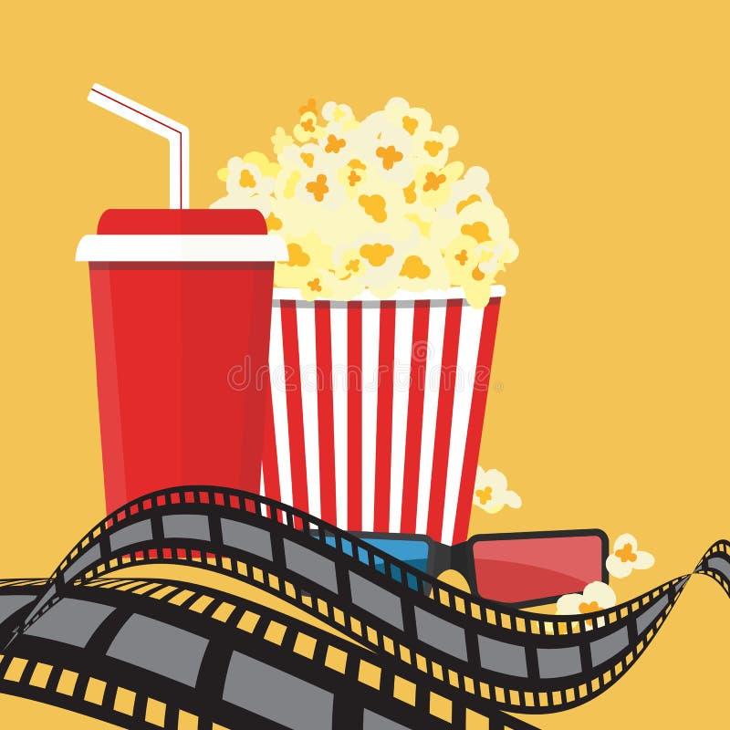 Vector illustration. Popcorn and drink. Film strip border. stock illustration
