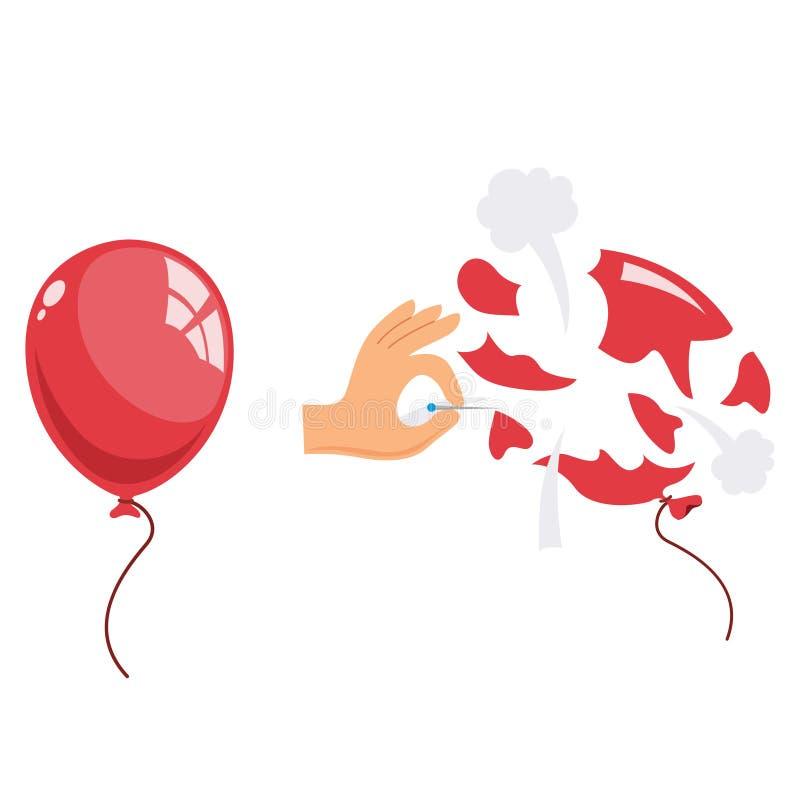 Vector Illustration Of Popped Balloon. Eps 10 stock illustration