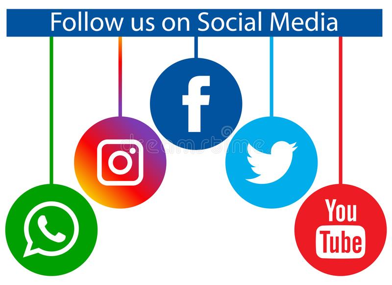 Follow us on social media. Vector illustration of popular social media round icons on white background vector illustration