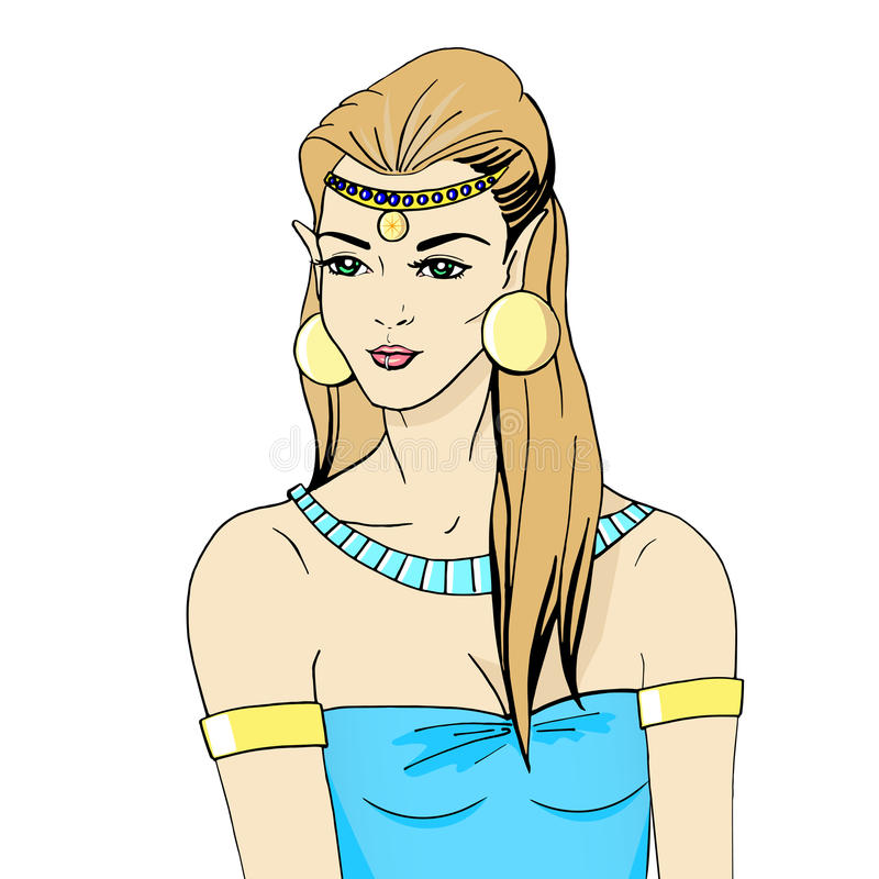 Vector illustration portrait of an elven princess. White background. Forest Elf vector illustration