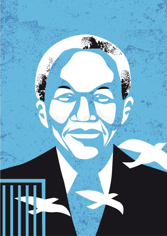 Vector portrait of Nelson Mandela stock illustration