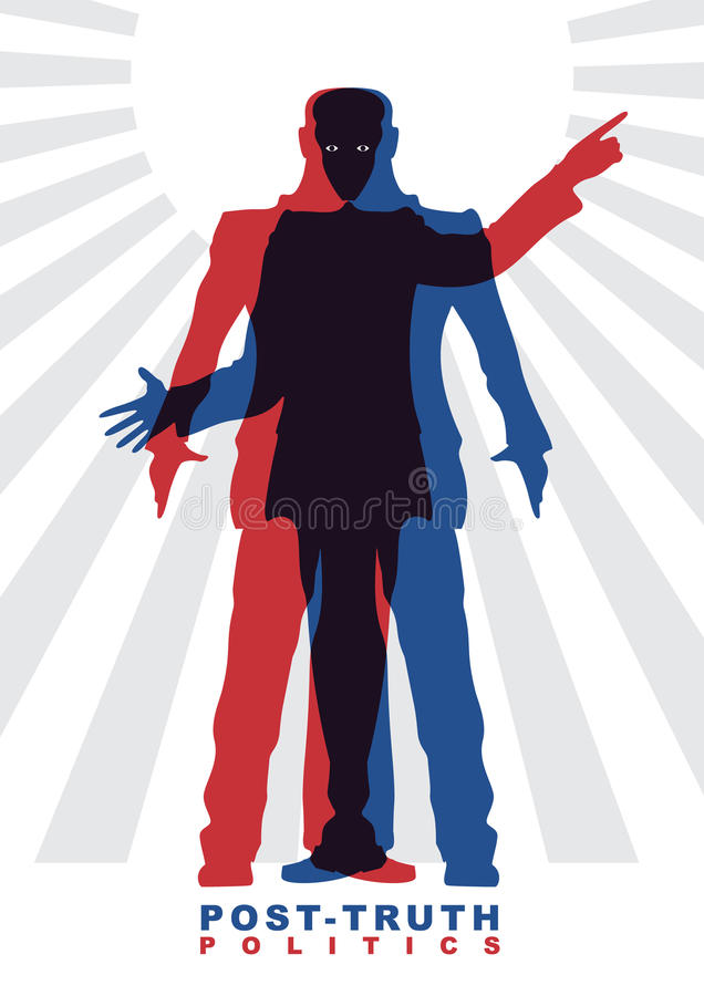 Vector illustration of Post-truth politics. Two male silhouettes in suits, who constitute the other silhouettes. Concept of social theme stock illustration