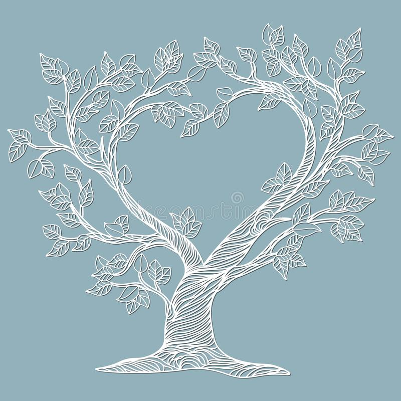 Vector illustration Postcard. Invitation and greeting card with the trees in the form of a heart. Pattern for the laser cut,. Serigraphy, plotter and screen royalty free illustration