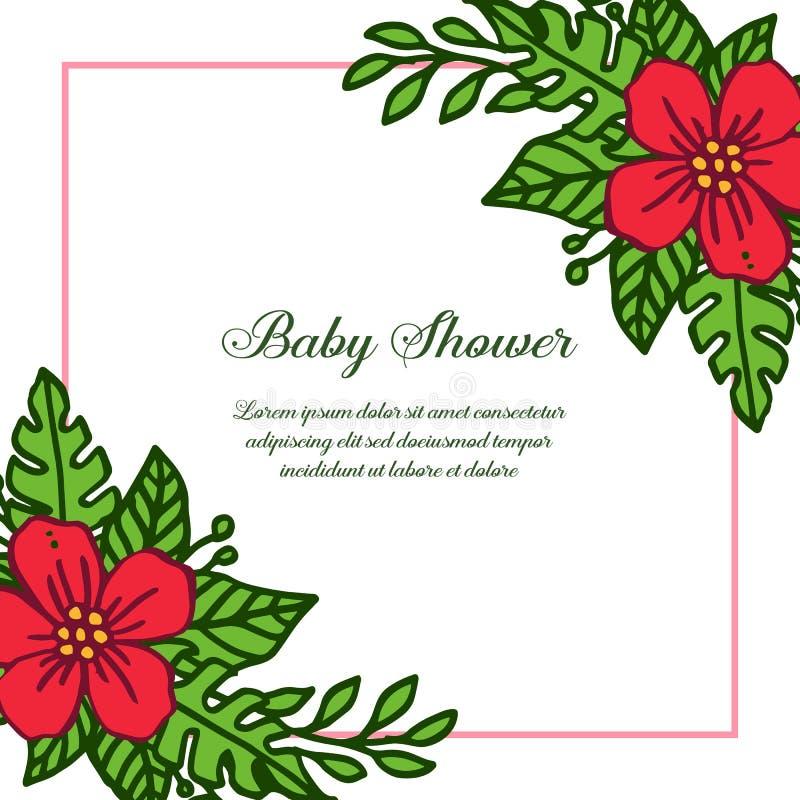 Vector illustration poster baby shower for red flower frame blooms. Hand drawn stock illustration