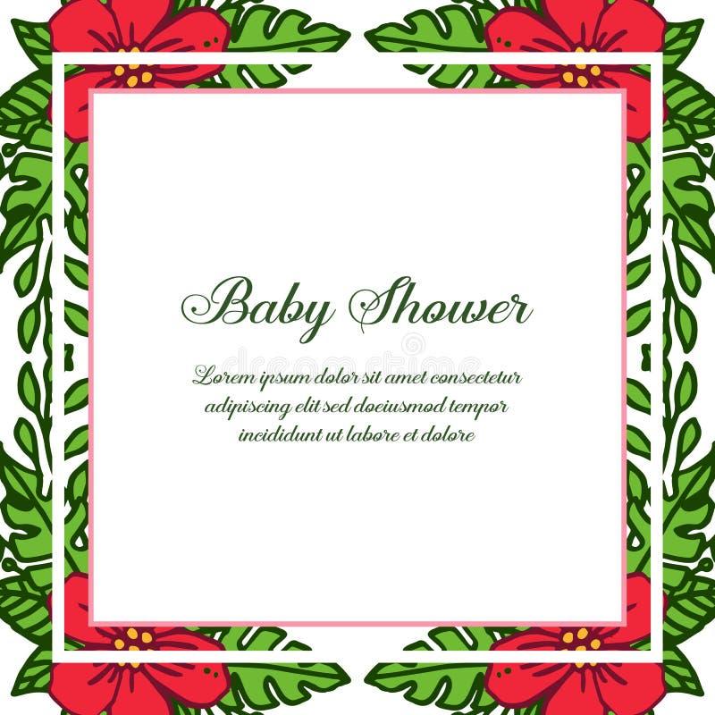 Vector illustration poster baby shower for red flower frame blooms. Hand drawn royalty free illustration
