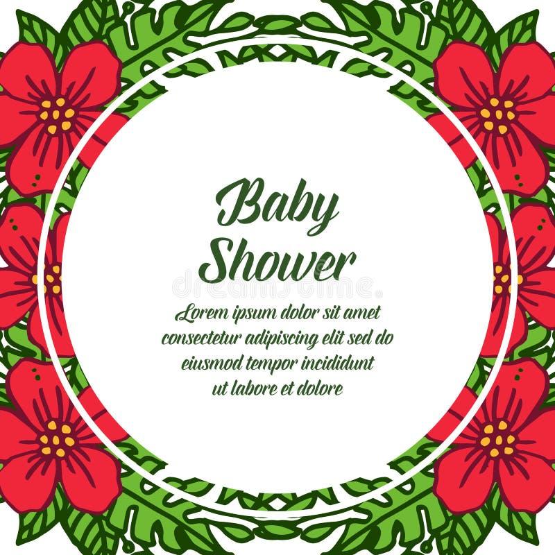 Vector illustration poster baby shower for red flower frame blooms. Hand drawn vector illustration