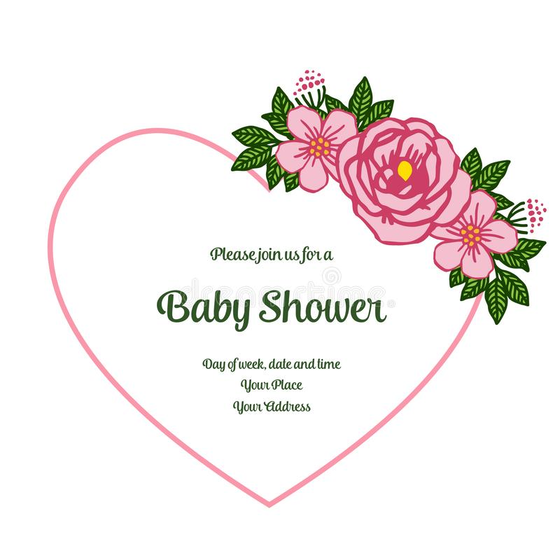 Vector illustration poster baby shower with very beautiful pink rose flower frame. Hand drawn vector illustration
