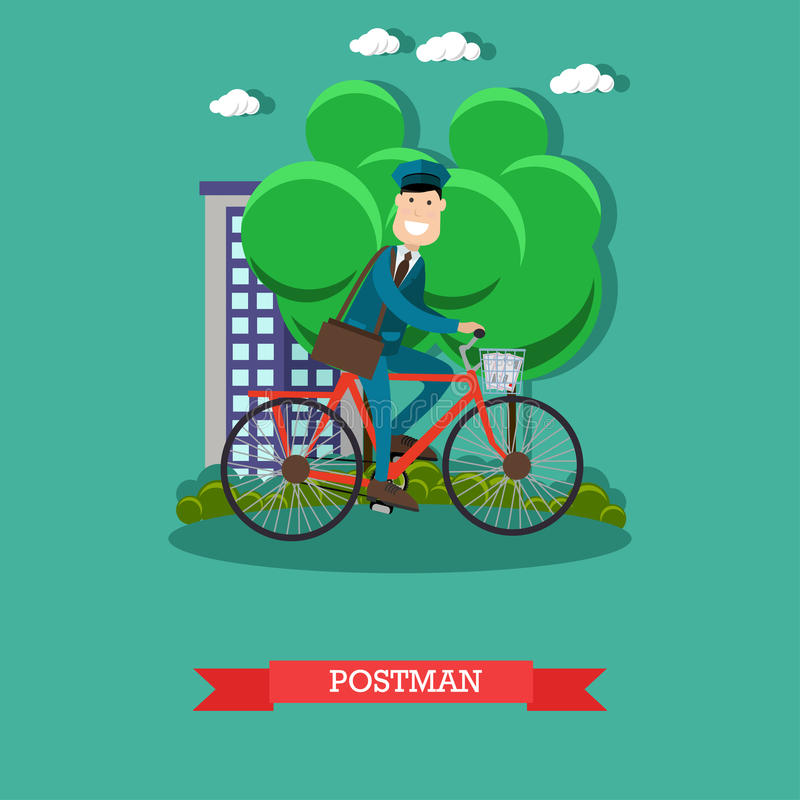 Vector illustration of postman in flat style royalty free illustration