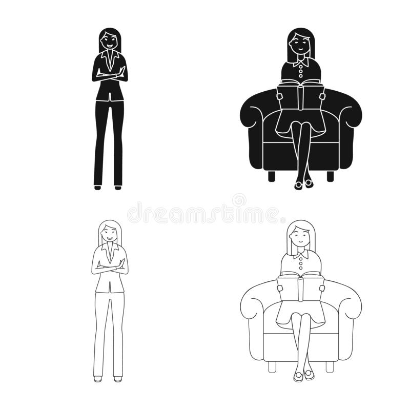 Vector illustration of posture and mood icon. Collection of posture and female vector icon for stock. Isolated object of posture and mood symbol. Set of posture stock illustration