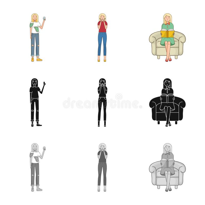 Vector design of posture and mood logo. Collection of posture and female vector icon for stock. Vector illustration of posture and mood icon. Set of posture and vector illustration