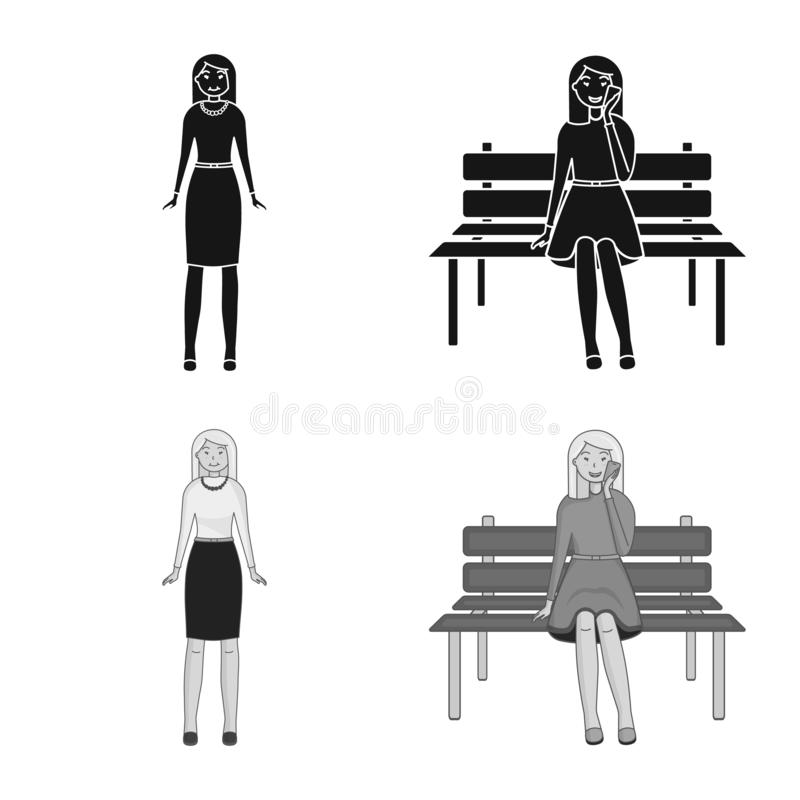 Vector design of posture and mood sign. Set of posture and female stock vector illustration. Vector illustration of posture and mood logo. Collection of posture royalty free illustration