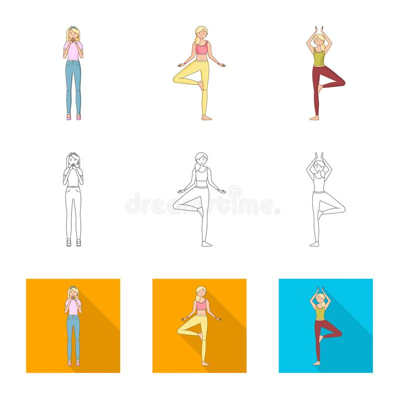 Vector design of posture and mood sign. Collection of posture and female stock vector illustration. Vector illustration of posture and mood logo. Set of posture stock illustration