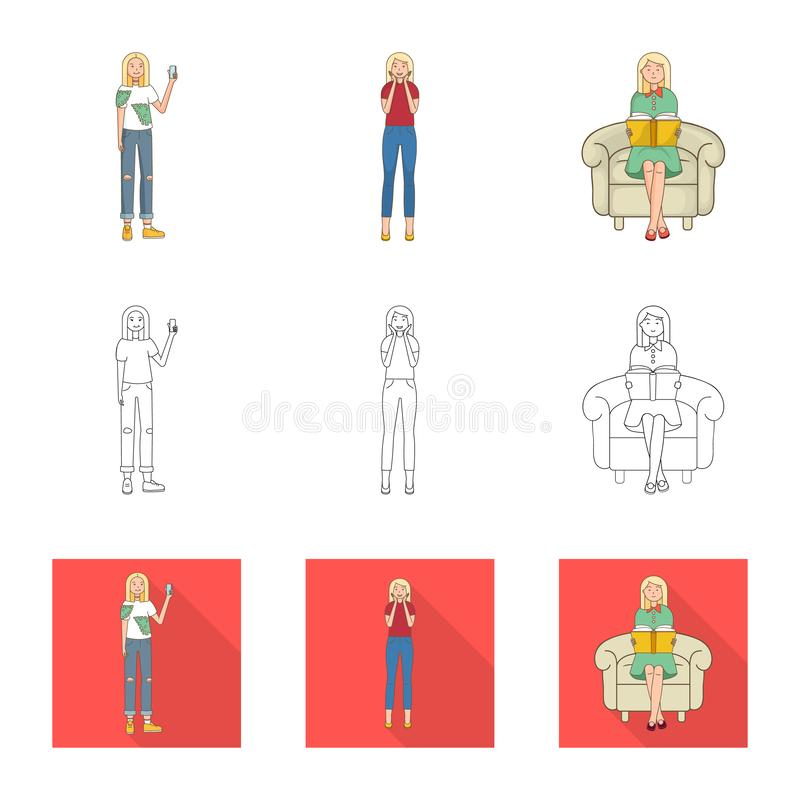 Vector design of posture and mood symbol. Set of posture and female vector icon for stock. Vector illustration of posture and mood sign. Collection of posture stock illustration