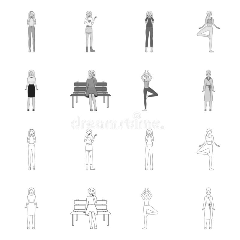 Vector illustration of posture and mood sign. Collection of posture and female vector icon for stock. Isolated object of posture and mood logo. Set of posture vector illustration