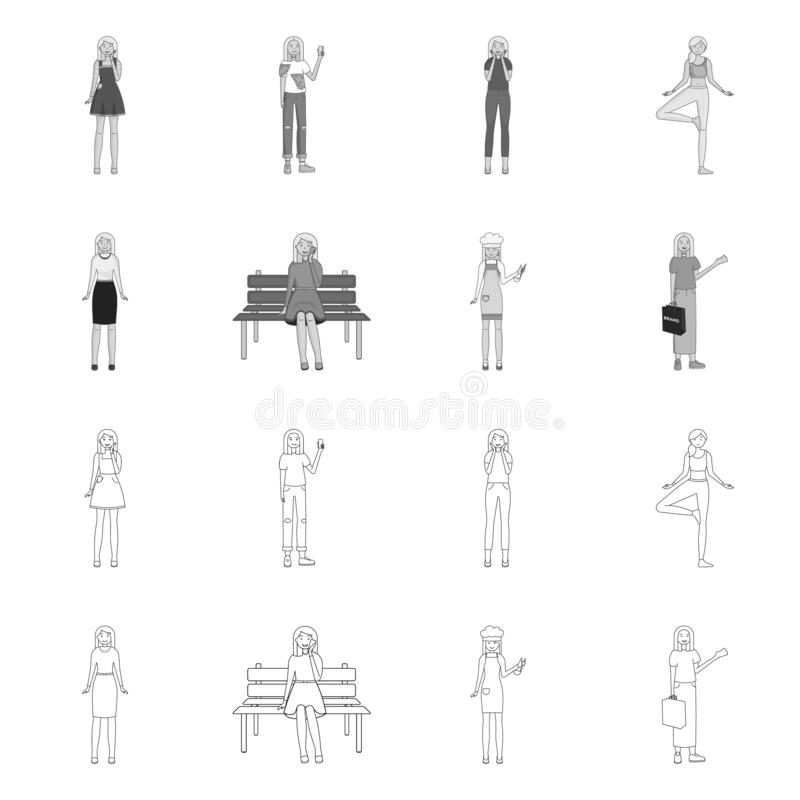 Vector design of posture and mood symbol. Set of posture and female stock vector illustration. Vector illustration of posture and mood sign. Collection of royalty free illustration