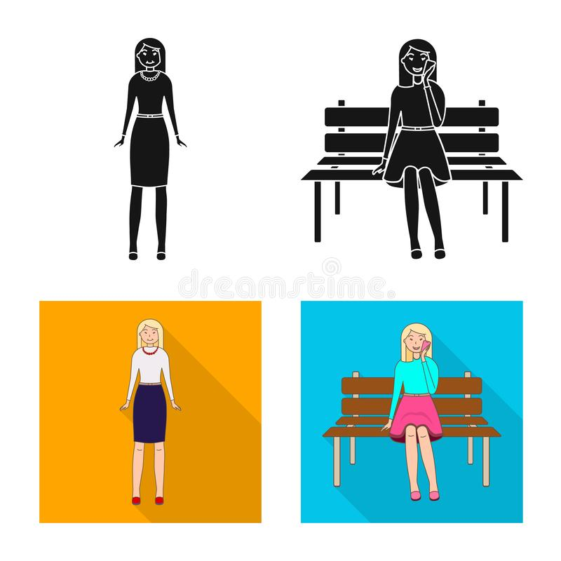 Vector design of posture and mood symbol. Set of posture and female stock vector illustration. Vector illustration of posture and mood sign. Collection of stock illustration